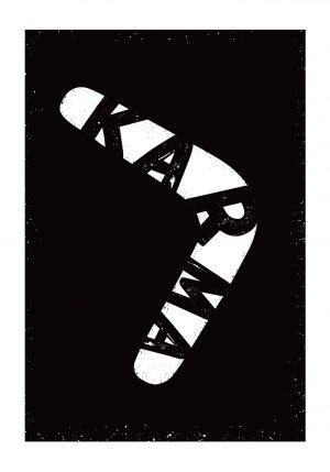 Karma czarnobiały plakat z bumerangiem
