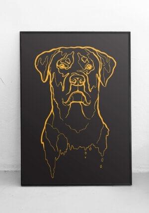 minimalistyczna grafika z głową psa